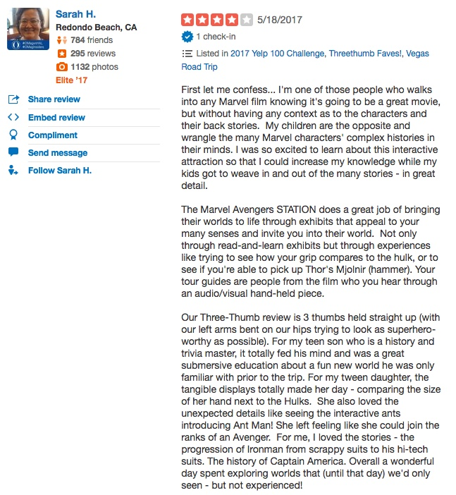 Marvel Avengers Station reviews yelp review